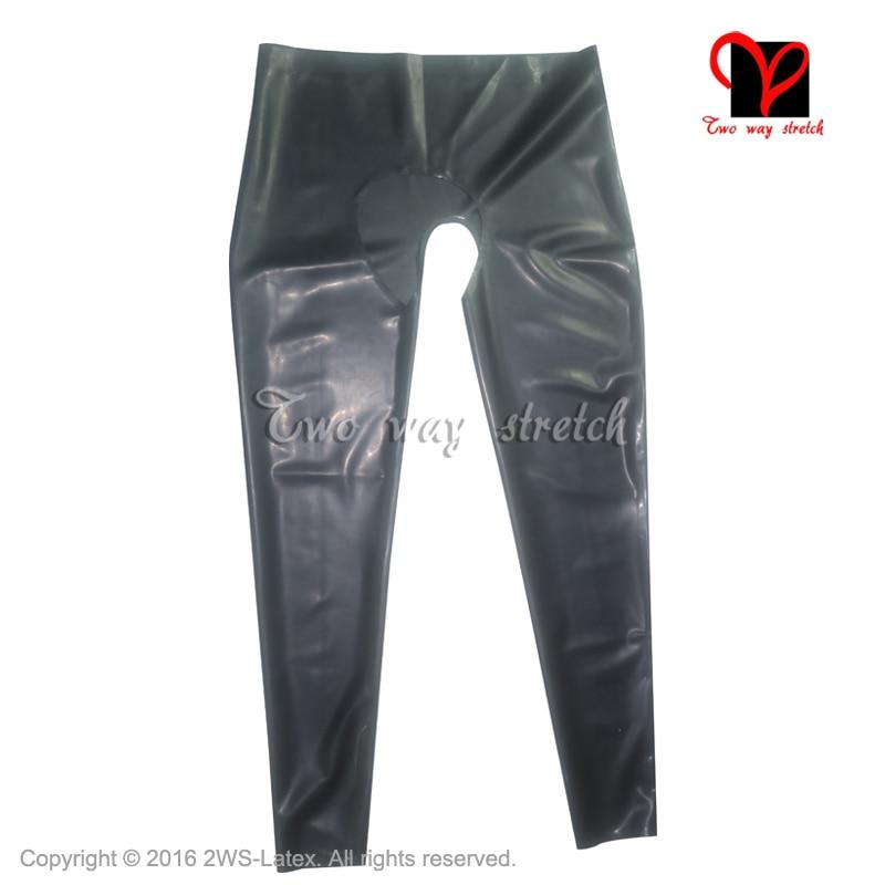 Sexy Latex leggings open crotch Rubber pants black Gummi Bottoms plus size trousers XXXL KZ-110 latex breeches jeans rubber pants trousers front zipper gummi bottoms pantaloons jodhpurs leggings tights plus size xxxl kz 081