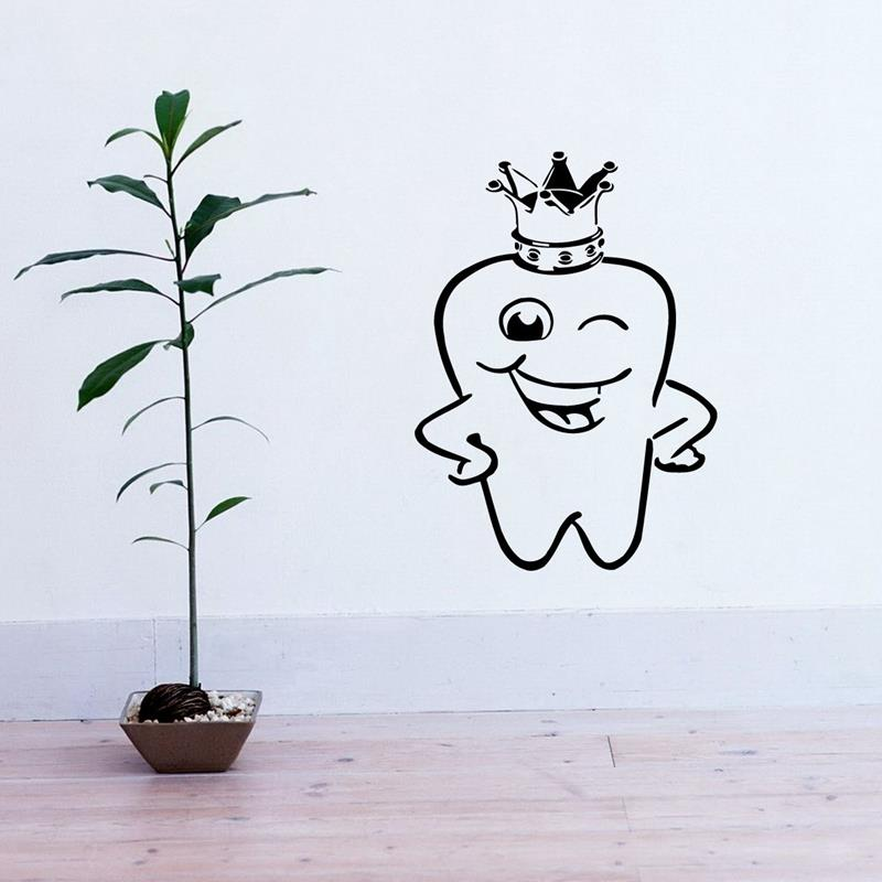 Free shipping Teeth Sticker King Dentist Decal Hours Poster Vinyl Art Wall Decal Pegatina Quadro Parede Decor Mural in Wall Stickers from Home Garden