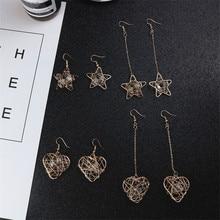 Korean Japan Hollow Star Heart Triangle Geometric Simple Vintage Woman Girls Dangle Drop Earrings Fashion Jewelry-LAF