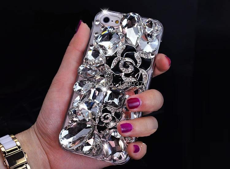 Luxury Camellia Bunga Kristal Berlian Kasus Untuk Iphone 7 6 S - Aksesori dan suku cadang ponsel - Foto 3