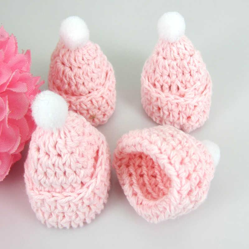 12 шт. ручной работы розовый поросенок миниатюрный крючком шапка для baby shower или для вечеринки по случаю крещения ремесло вечерние украшения 30x35 мм