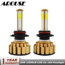 AROUSE 9005 HB3 9006 HB4  H4 H7 H11 Car LED Headlight Bulbs Hi-Lo Beam 80W 12000LM 6000K Auto Headlamp Fog Light Bulb DC12v 24v