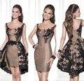 Little Black Cocktail Dresses Detachable Skirt 2016 Tarik Ediz Lace Applique Bodice Prom Dress latest gown design