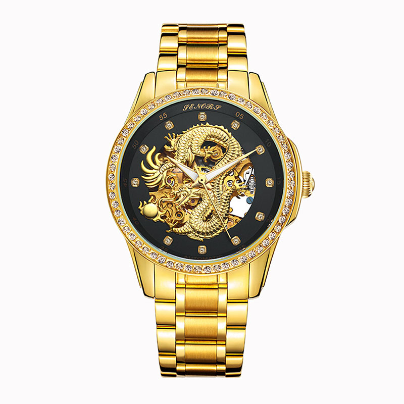 Luxfacigoo Luxury Skeleton Automatic Mechanical Wristwatch Dragon Stainless Steel Band Men Watch TT@88 цена и фото