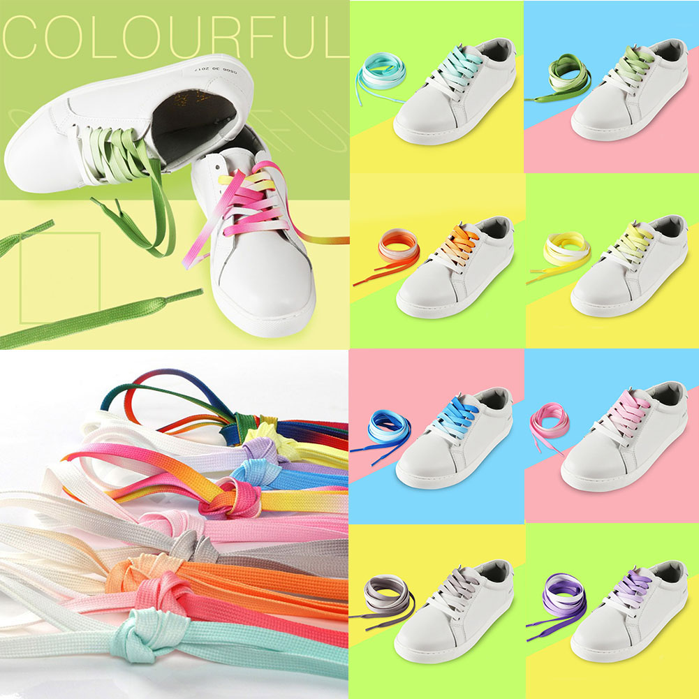 1 Pair Rainbow Flat Canvas Athletic Shoes laces Sport Sneaker Shoe Laces Boots candino sport athletic chic c4521 1