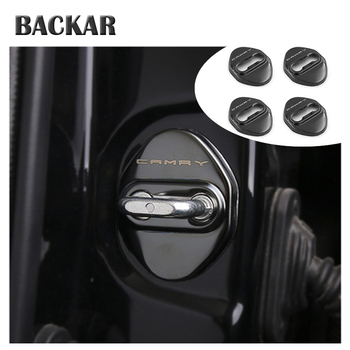 BACKAR 4pcs Car Styling Stainless Steel Interior Stickers For Toyota Camry XV70 2017 2018 Door Lock Cover Lockstitch Accessories image