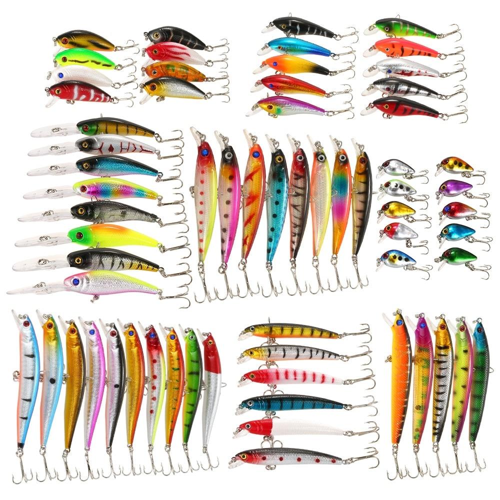 65 pièces glace poisson leurre mixte pêche leurre Set Kit hiver méné leurres manivelle artificiel dur appât achigan carpe matériel de pêche