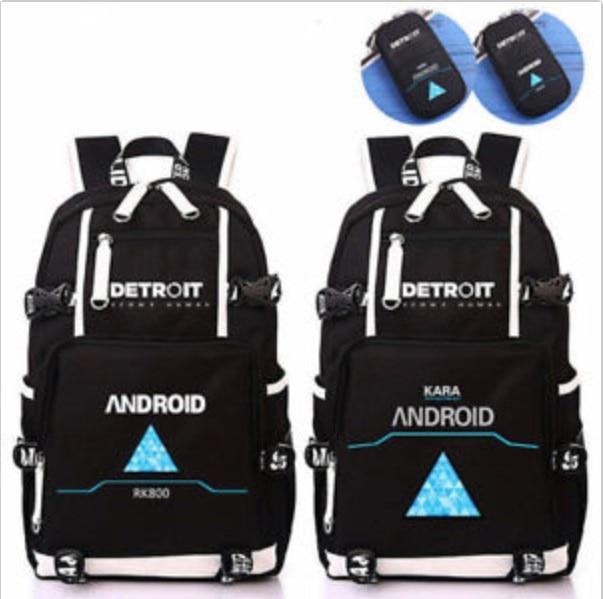 Detroit: Become Human Backpack Student  Shoulder Bag Schoolbag Laptop Travel Bag