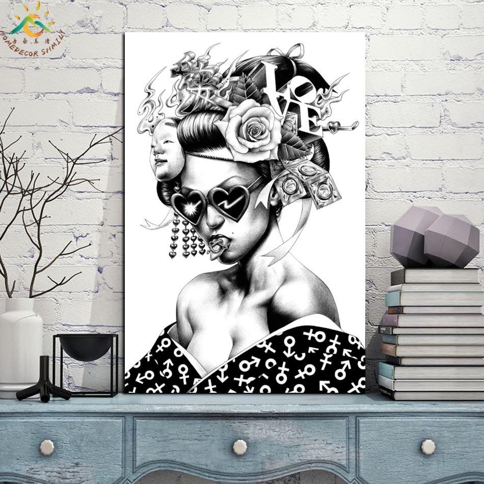 Лучший!  Плохая Япония Девушка Одной Рамке Свитка Живопись Современные Холст Репродукции Плакат Роспись С