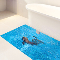 Dolphin Animal Pattern Waterproof Anti Skid Twill Film Floor Sticker Bedroom Bathroom Kitchen Stylish Home Decoration