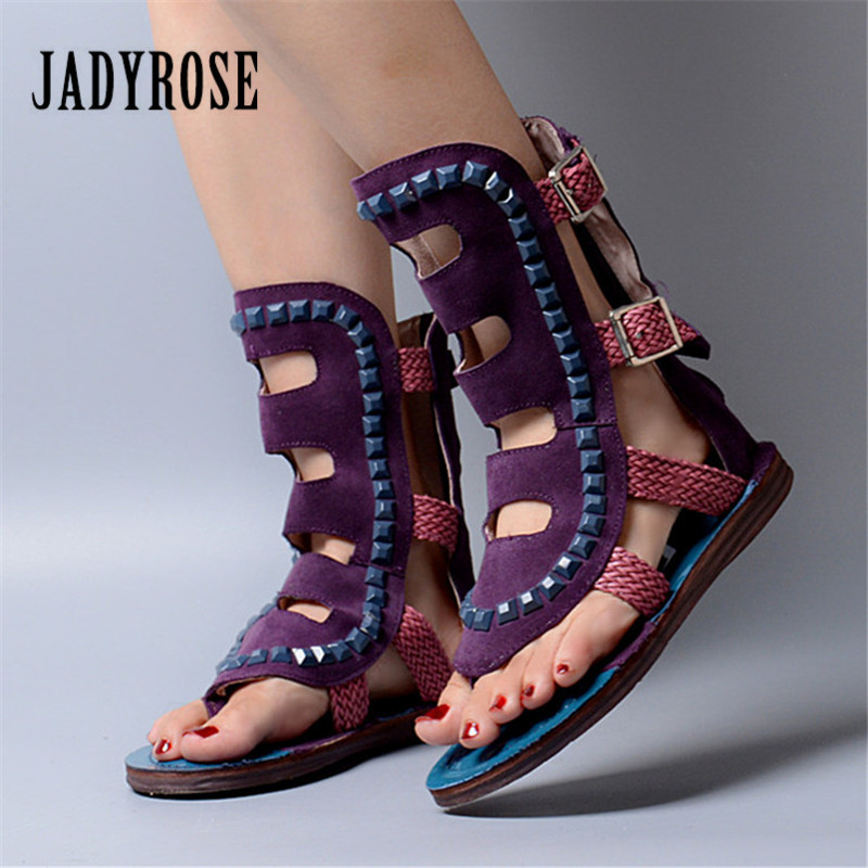 Jady Rose 2018 New Suede Rivets Studded Women Sandals Flip Flops Summer Beach Shoes Hollow Out Female Flat Gladiator Sandal female gladiator wedges sandal hallow out platforms high wedge shoes women rivets summer sandal beach vintage women size 34 39