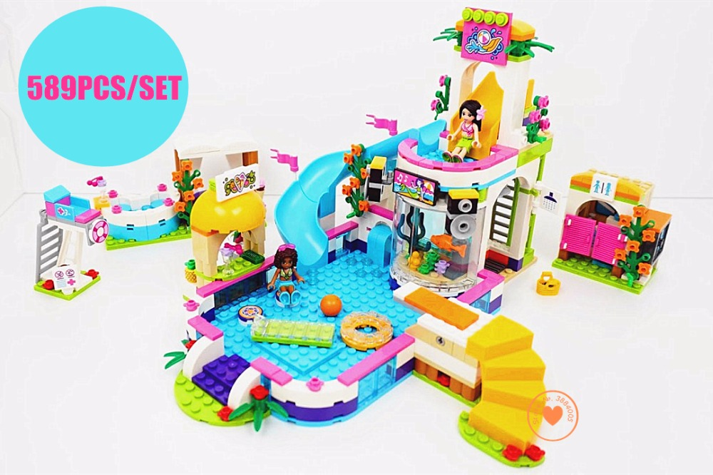 New Heartlake Girls club Summer Pool fit legoings friends figures city model Building block Bricks diy toys 41313 girl gift aiboully 10166 2017 new 489pcs girls friends heartlake city school building block sets assemble bricks toys compatible 41005