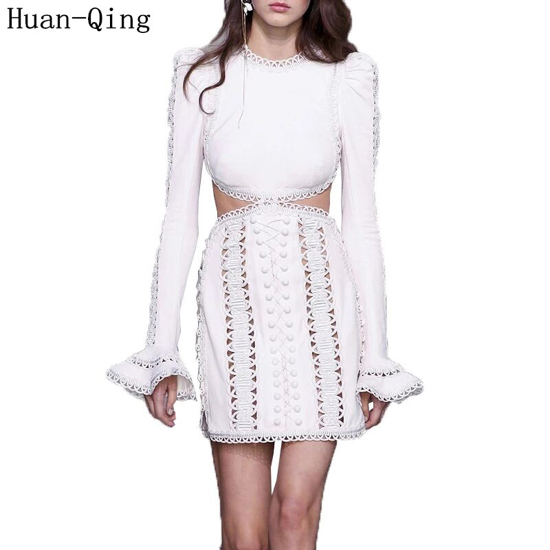 New Summer Ladies Sexy Lace Hollow Out Embroidery White Black Dress Runway Women Expose Waist Long