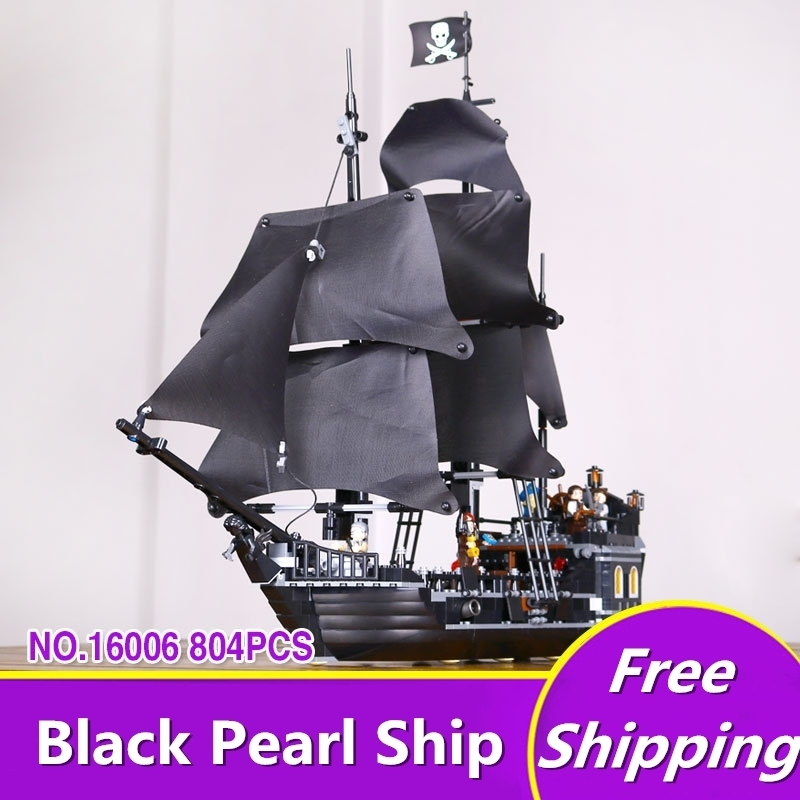 Legone 16006 Pirates Of The Caribbean 804PCS The Black Pearl Ship Building Kit Blocks Bricks Toys Compatible 4184 Brinquedos 1513pcs pirates of the caribbean black pearl general dark ship 1313 model building blocks children boy toys compatible with lego
