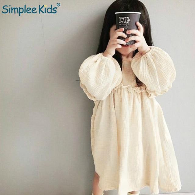 Simplee Kids 2019 Spring Girl Dresses Linen Loose Beige Princess Dress Long Lantern Sleeve Solid Country Style Ruffles Dress