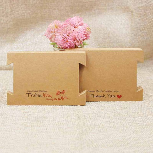 Zeronge Jewelry Packaging Card 200pcs Kraft Paper Hair Accessories Band Clips Display Hanging Print Thank