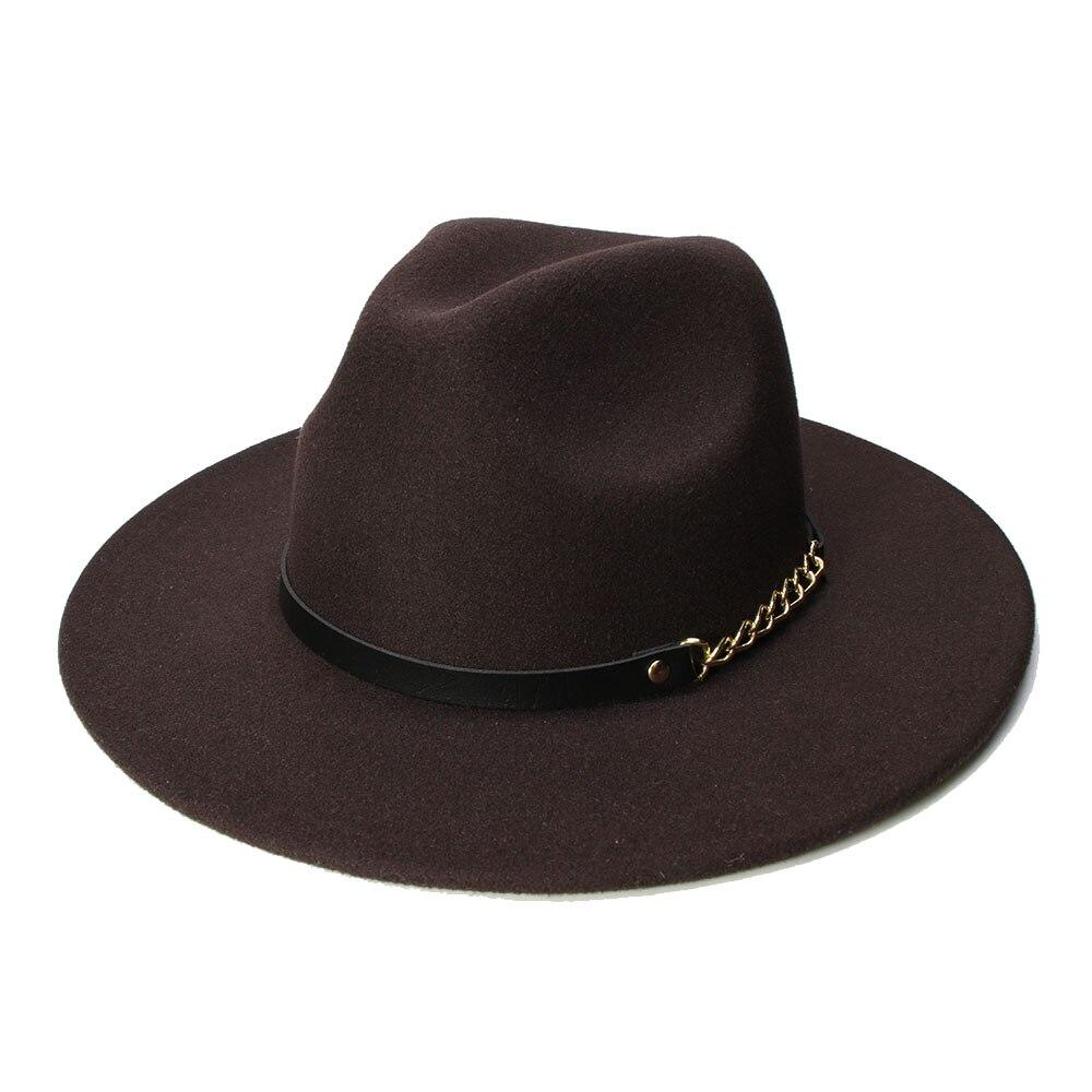 LUCKYLIANJI Retro Women Men Vintage 100% Wool Wide Brim Cap Fedora Panama  Jazz Bowler Hat ecd42189dab3