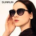Sunrun el new cat sunrun ojo gafas de sol mujer de lujo original de la marca de gafas de diseño retro vintage mujer gafas de sol 9718