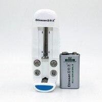 1 шт. etinesan 9 В 550 мАч литий-ионный Перезаряжаемые 9 вольт Батарея + универсальное зарядное устройство