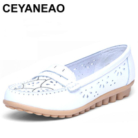 CEYANEAO Summer Women Flats Cut Out Genuine Leather Breathable Casual Shoes Slip On Loafer Ladies Ballerina