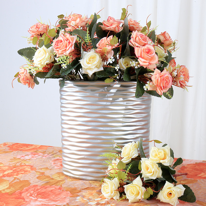 2 pcs lot artificial flower 7 head dining table decoration silk flower for home wedding. Black Bedroom Furniture Sets. Home Design Ideas