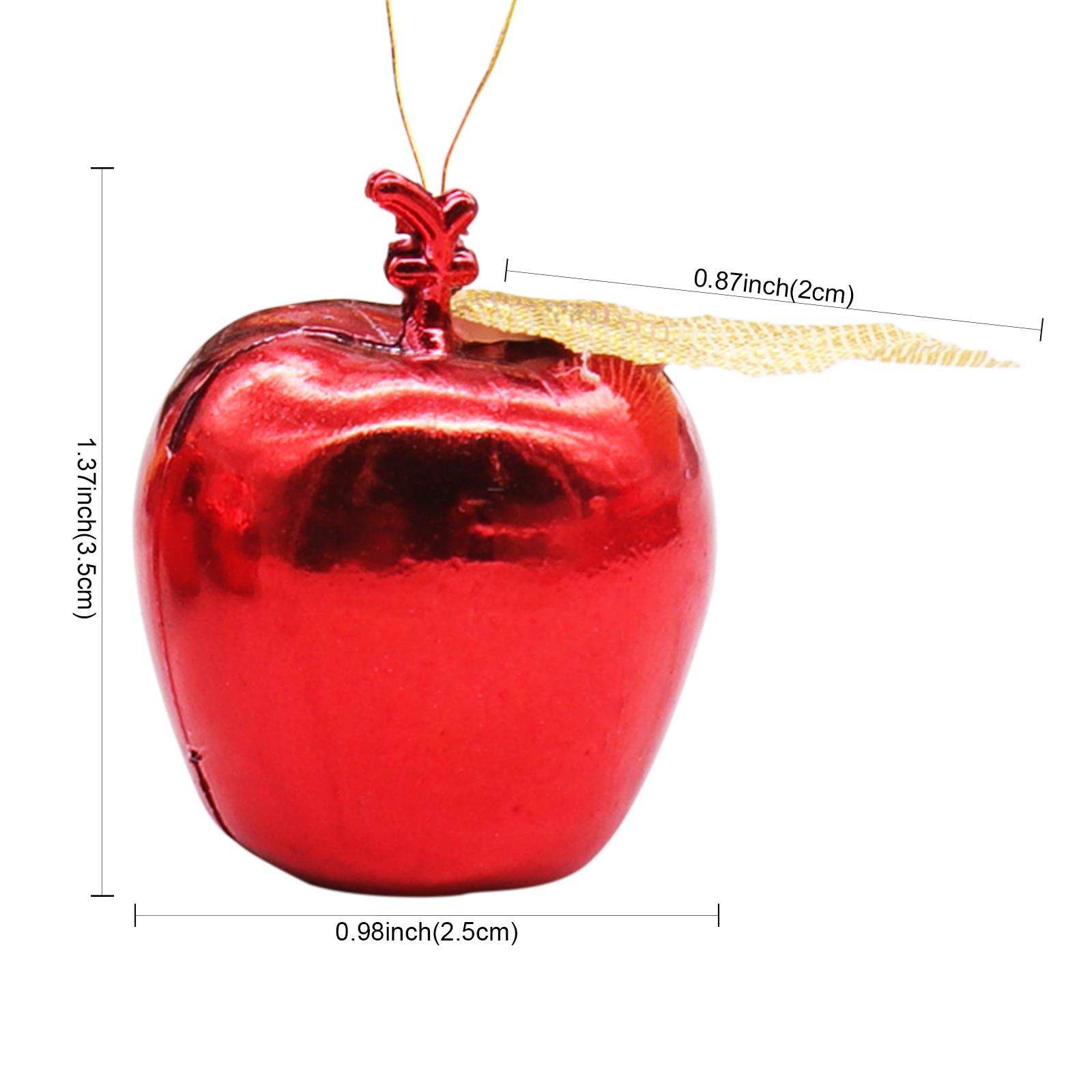 12pcs Apples Pendants Hanging Ornaments Christmas Tree DIY Props Home Decor