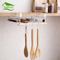 Iron Over Door Storage Rack Practical Kitchen Cabinet Drawer Organizer Door Hanger With Hook Storage Basket