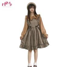 가을 봄 여성 빈티지 드레스 일본식 민소매 격자 무늬 드레스 하라주쿠 대학생 귀여운 카와이 로리타 드레스