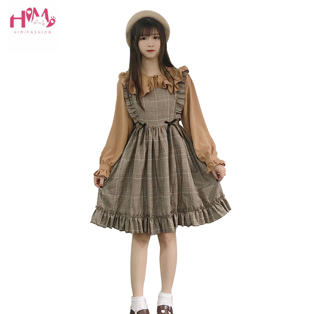 Herbst Frühling Frauen Vintage Kleid Japanischen Stil Ärmelloses Plaid Kleid Harajuku College Studenten Nette Kawaii Lolita Kleid