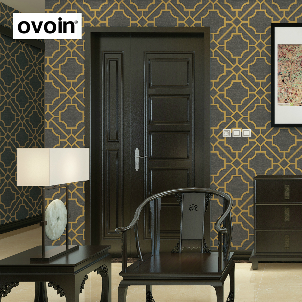 Abstract Trellis Modern Geometric wallpaper for wall Abstract Dark Grey And Gold Wall Paper Roll Home Decor dg home софа papa bear dark grey