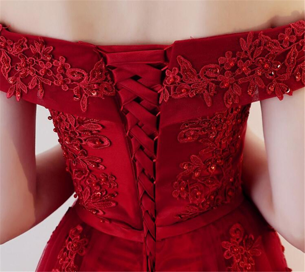 ZJ7027 Sexy Off Shoulder Lace Long Red Pink Prom Dresses 2018 Formal Party Dress For Graduation Plus Size Customer Made 2