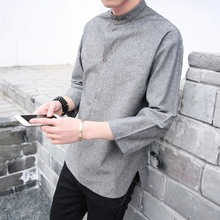 Summer Five Minutes Sleeve Shirt Men's Clothes In The Chinese Style Men's Sleeves Loose Half Sleeve Shirt Handsome