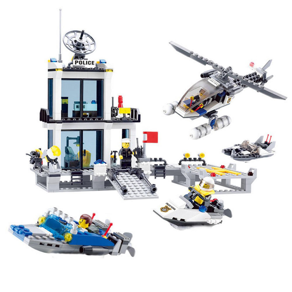 BOHS City Police Station Coastal Guard SWAT Maritime Police with Policeman Figures Building Blocks Toys (No retail box) city series police car motorcycle building blocks policeman models toys for children boy gifts compatible with legoeinglys 26014