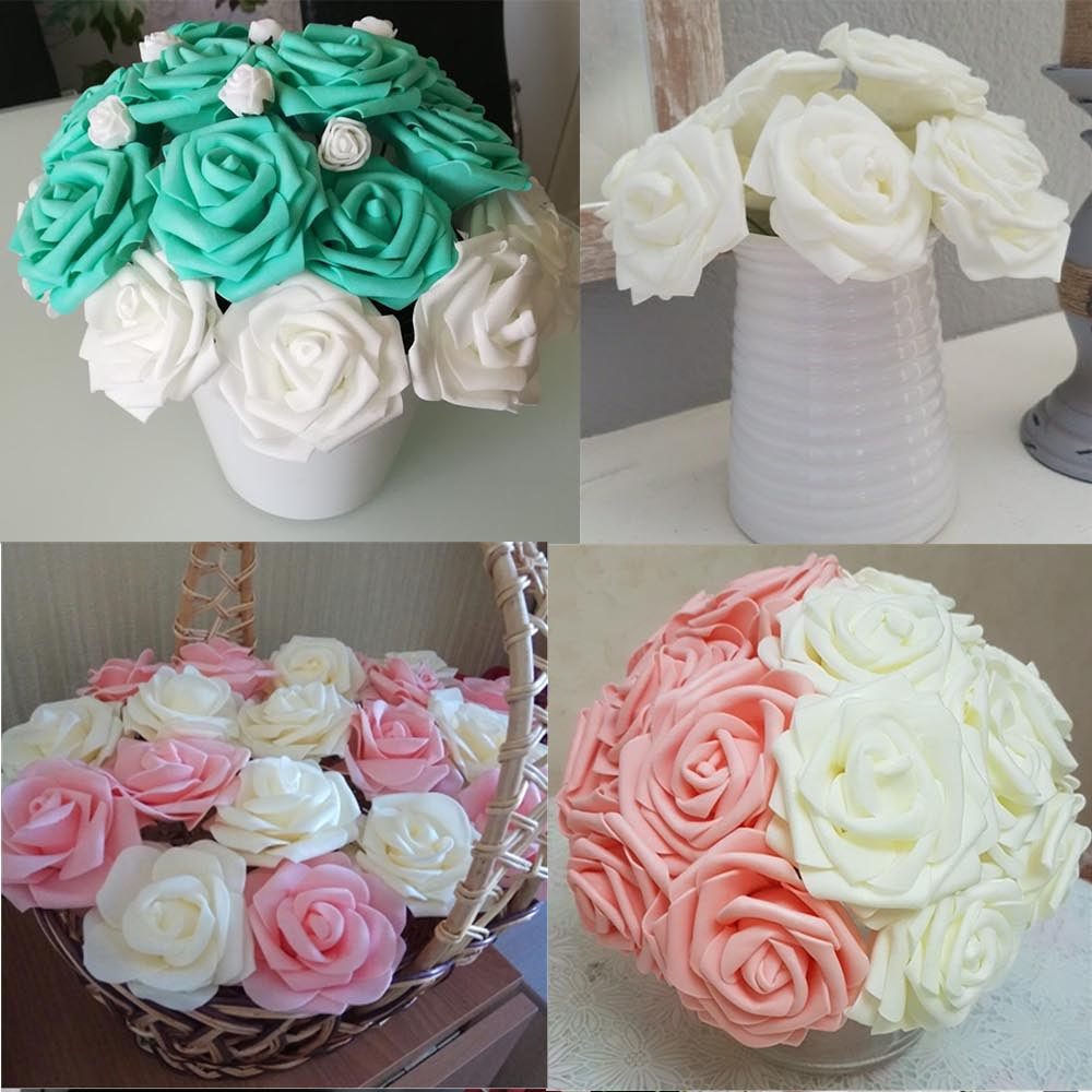 Image 4 - 10 Pcs Real Touch Artificial Flower Latex Rose Flower Artificial Bouquet Fake Flower Bridal Bouquet Decorate Flowers For Wedding-in Artificial & Dried Flowers from Home & Garden