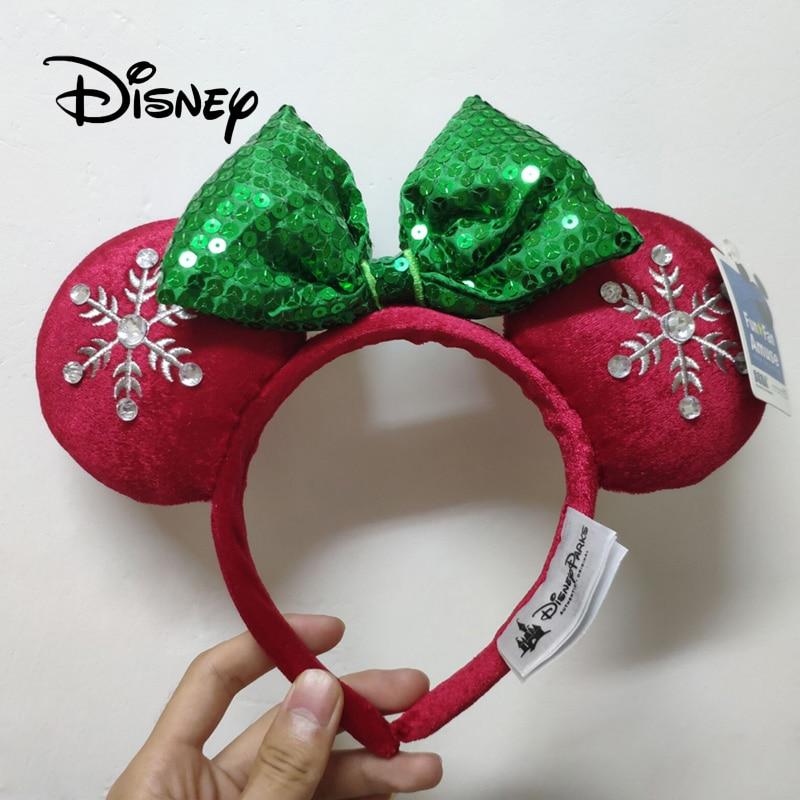 Disney Christmas Headband Mickey Ears Snowflake Winter Style Headwear Cute Girl Plush Hair Accessories Headdress Birthday Gifts