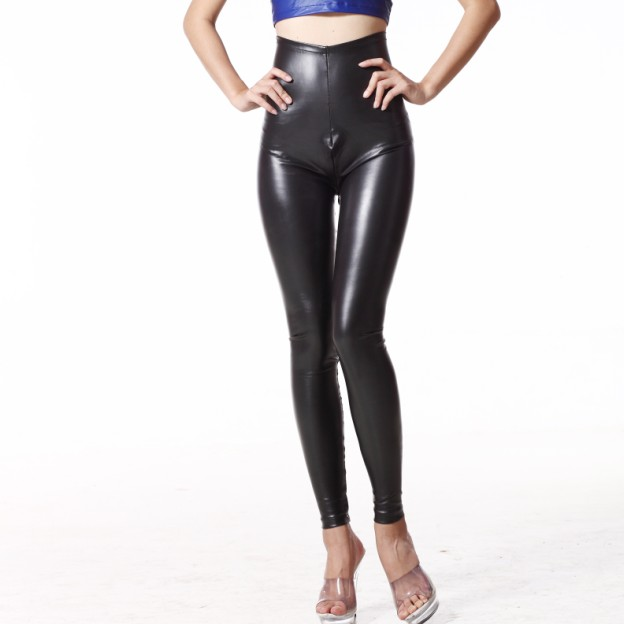 Sexy Latex Pencil Pants MAT Leather Pants High Rise Waist Zipper Open Crotch Matte Leggings Club Dance Wear FX1076