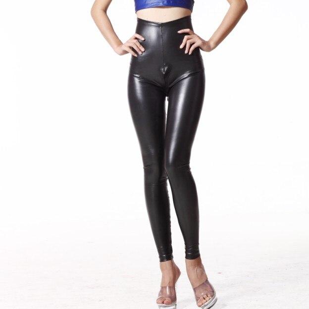 4543b75b6 Sexy Latex Pencil Pants MAT Leather Pants High Rise Waist Zipper Open  Crotch Matte Leggings Club Dance Wear FX1076