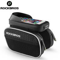 ROCKBROS Bicycle Front Bag Rainproof Touch Screen Cycling Bike Frame Tube Phone Bag Reflective Bike Accessories