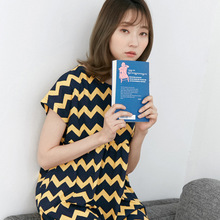 2017 Korean female Nightgown summer leisure wear night skirt Home Furnishing cotton short sleeved sleepwear loose woman
