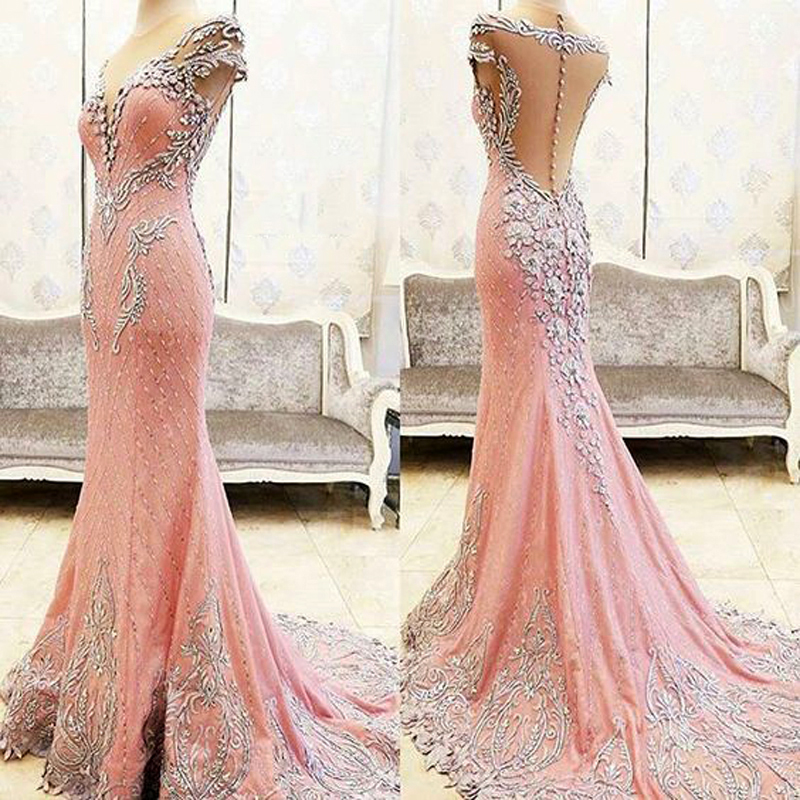 Luxury Long Evening Dress Mermaid 2019 Embroidery Beads Crystal Backless African Women Formal Party Prom Gown Robe De Soiree
