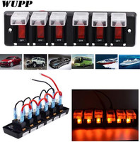 WUPP 12V 16A Switch Panel 6 Gang ABS Panel Red Led Indicator Switches Car Boat Marine SUV Waterproof Dustproof Circuit Breaker