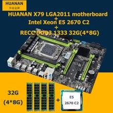 Hot selling HUANAN v2.49 X79 motherboard CPU Xeon E5 2670 C2 RAM 32G(4*8G) DDR3 RECC NVME SSD M.2 port MAX support 4*16G memory