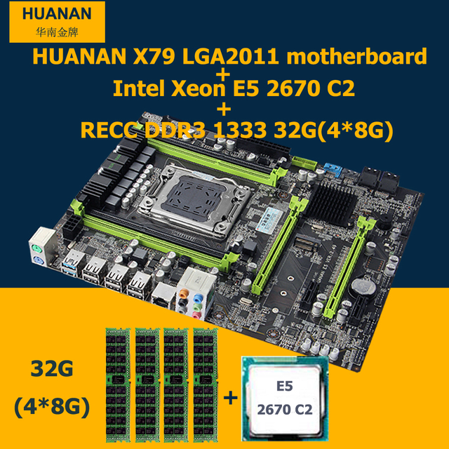 Hot selling HUANAN v2.49 X79 motherboard CPU Xeon E5 2670 C2 RAM 32G(4*8G) DDR3 RECC NVME SSD M.2 port MAX support 4*16G memory