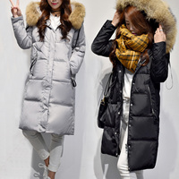 Women's Duck Down Coat With a Hood Large Genuine Natural Real Fur Collar Thick Warm Parka Black Grey Pink XXXXXL 2XL 3XL 4XL 5XL