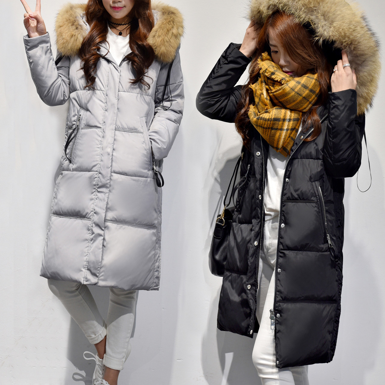 Online Buy Wholesale grey down coats with real fur hood from China ...