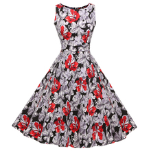 ACEVOG Brand Women 2017 Summer Dress Sleeveless Tunic Casual Vintage 1950s 60s Party Rockabilly Big Swing Long Floral Dresses