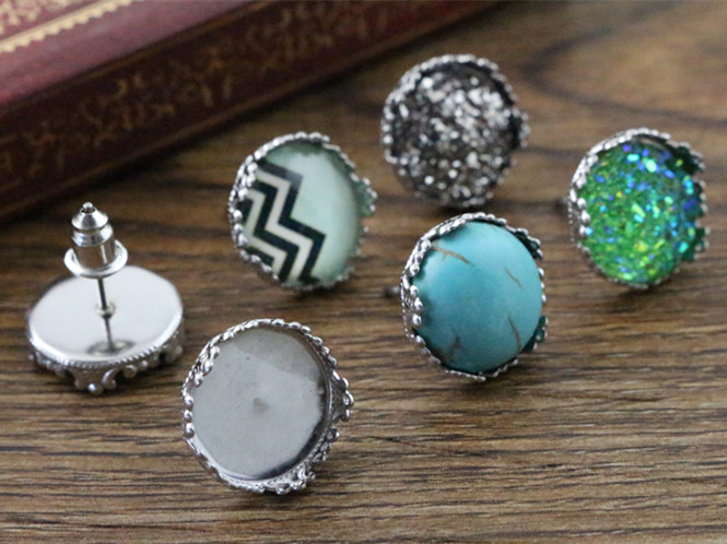( No Fade ) 12mm 20pcs Stainless Steel Earring Studs,Earrings Blank/Base,Fit 12mm Glass Cabochons,Buttons;Earring Bezels (L2-37)( No Fade ) 12mm 20pcs Stainless Steel Earring Studs,Earrings Blank/Base,Fit 12mm Glass Cabochons,Buttons;Earring Bezels (L2-37)