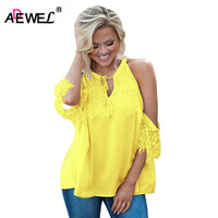 SEBOWEL Newest 2017 Summer Autumn Off Shoulder Women Blouse Bright Color Casual Loose Half Sleeve Lace
