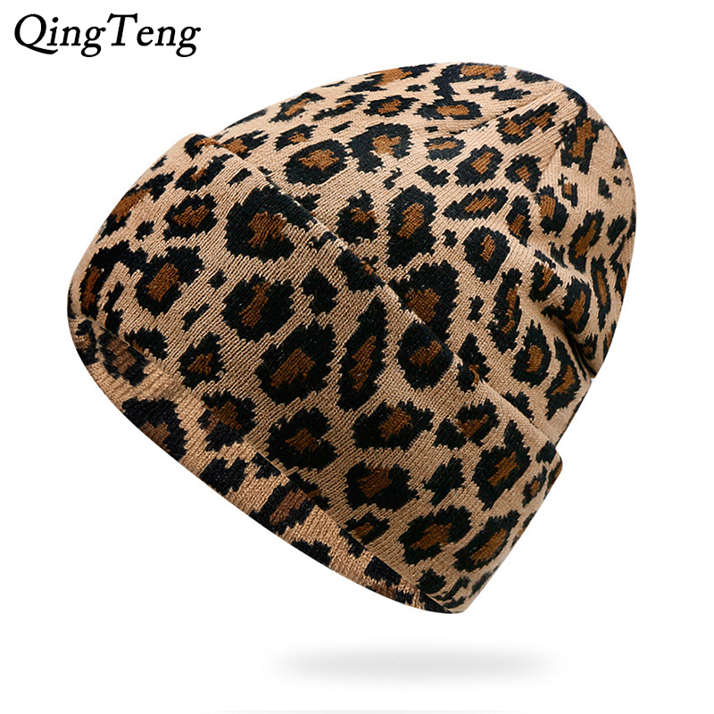Sexy Leopard Winter Hats For Women Double Warm Hat Female Outdoor Ski   Skullies     Beanies   Casual Knitted Cap Gifts Hat For Girls
