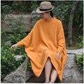 SERENAMENTE Mais Mulheres do Tamanho Encabeça Gola Batwing Luva Big Camisas Casual Vestido Solto 100% Algodão Mulheres Vestido Vestido de Inverno S67